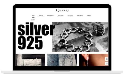 Ordenador mostrando diseño web de tiend online de joyería