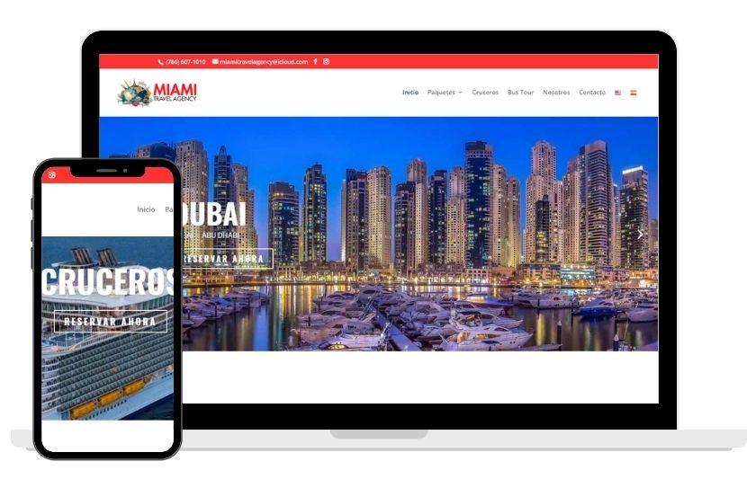 Ordenador mostrando enla pantalla el diseño web con WordPress de Agencia de Viajes